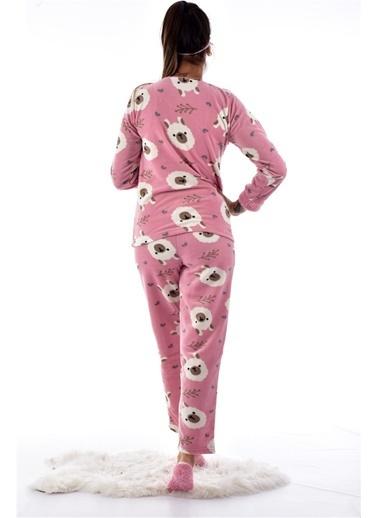 Pemilo Kadın 4120 Göz Bantlı Polar Pijama Takımı PUDRA Pudra